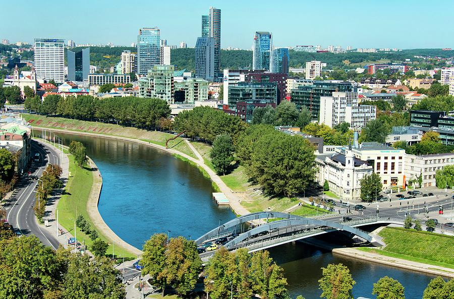 River Neris  And  Vilnius Downtown Photograph by Paul Biris