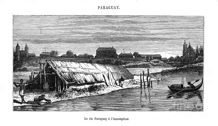 River Paraguay, South America, 19th Drawing by Print Collector