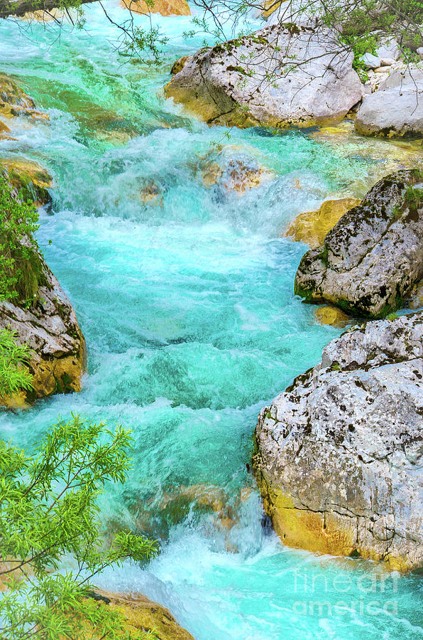river rapids close up vertical background nature Soca the emerald colored river waters by Luca Lorenzelli