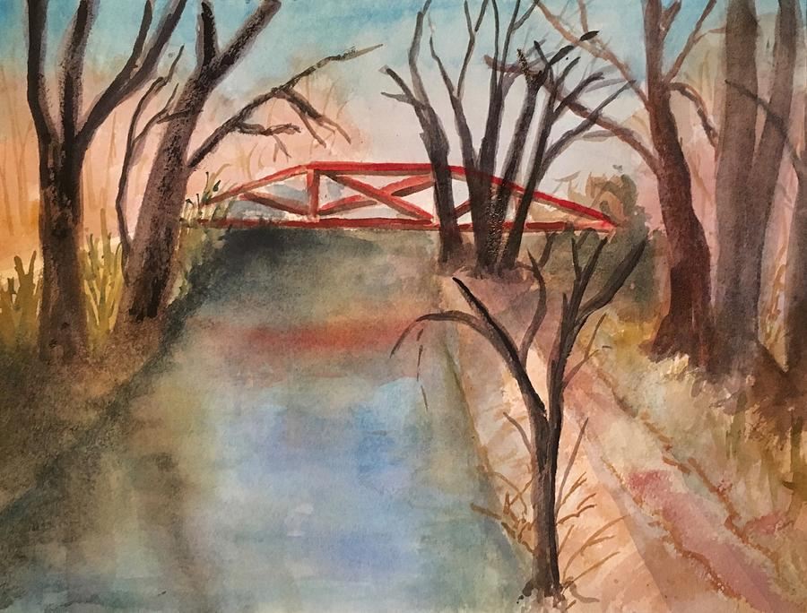 Watercolor Painting - River Road Canal by Marita McVeigh
