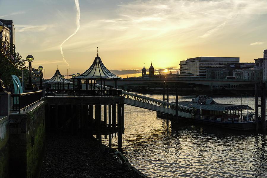 River Thames Glossy Sunset - London Bridge City Pier Ferry Terminal Southwark London UK by Georgia Mizuleva