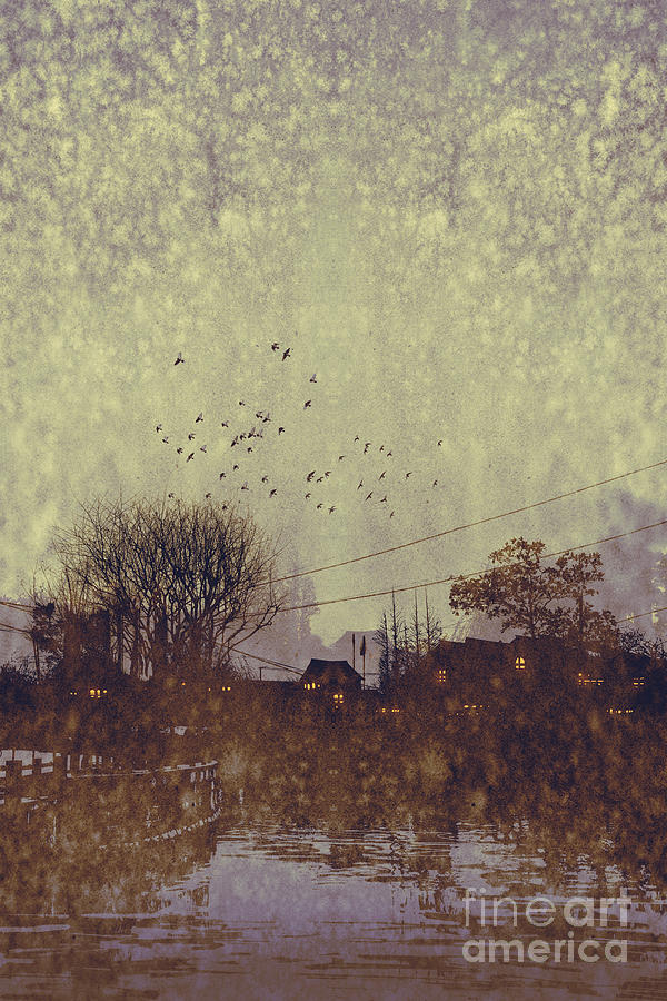 Sky Digital Art - River Village With Grunge by Tithi Luadthong