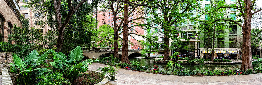 River Walk at the Navarro St Bridge Panorama 2015 by Greg Reed