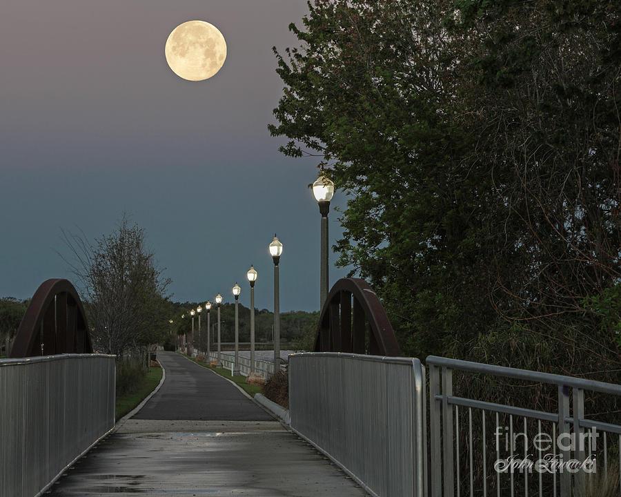 River walk Moon rise by John Zawacki