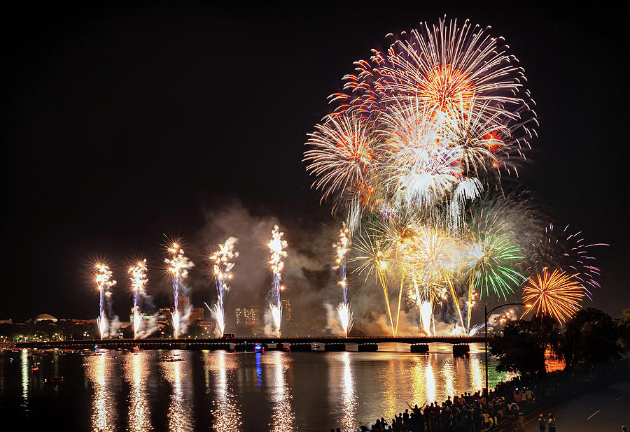 River Wide Fireworks by Sylvia J Zarco