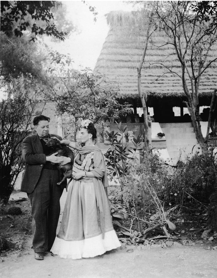 Rivera, Kahlo, & Dog Photograph by Hulton Archive