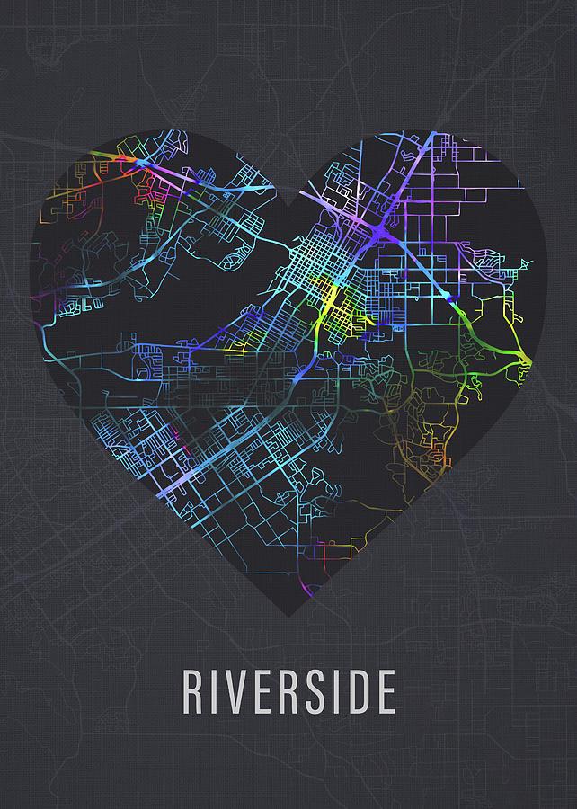 Riverside Mixed Media - Riverside California City Heart Street Map Love Dark Mode by Design Turnpike