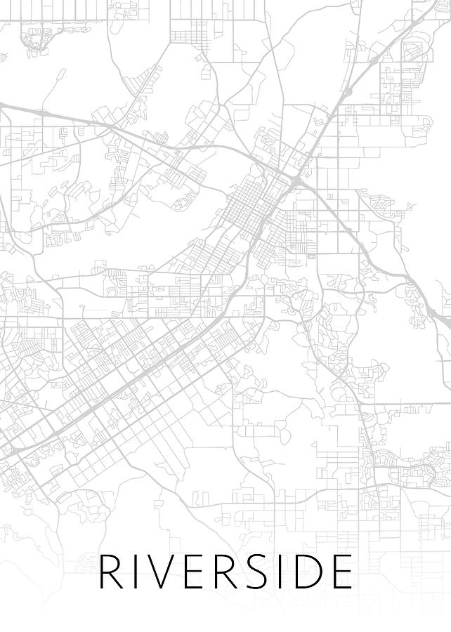 Riverside Mixed Media - Riverside California City Map Black and White Street Series by Design Turnpike
