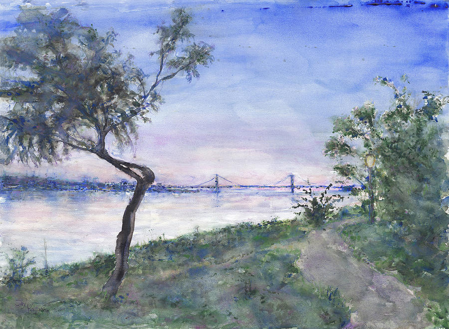 Watercolor Painting - Riverside Park Trees 2 by Jay Kauffman