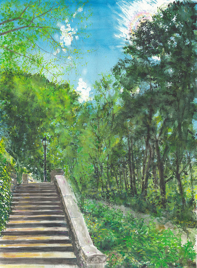Watercolor Painting - Riverside Park Trees 3 by Jay Kauffman