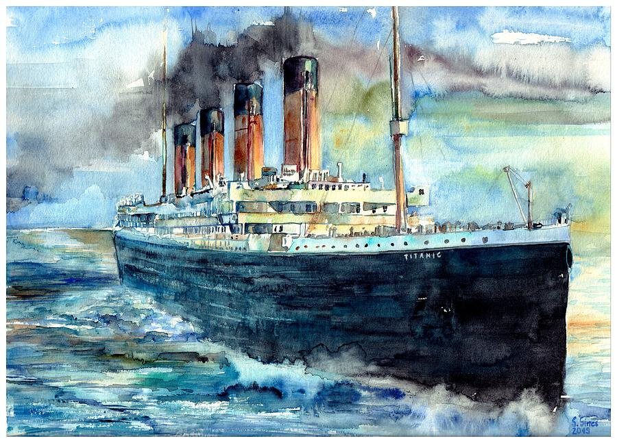 Rms Titanic Painting - Rms Titanic White Star Line Ship by Suzann Sines
