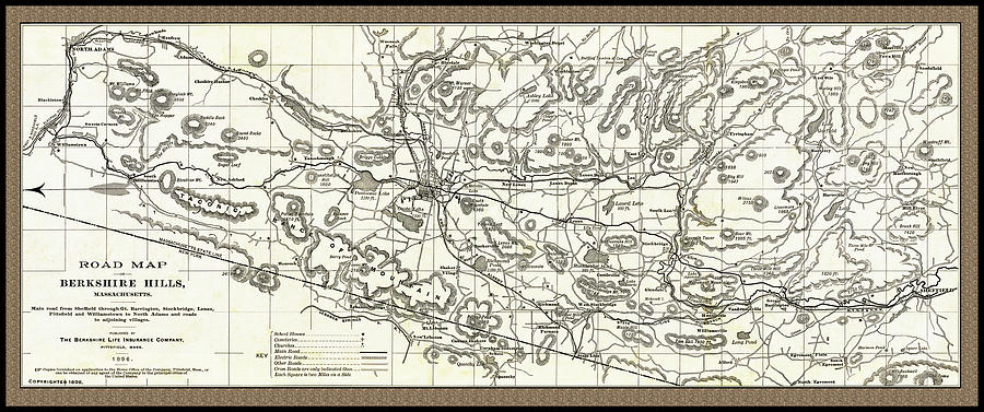 Road Map of The Berkshire Hills 1896 by Phil Cardamone