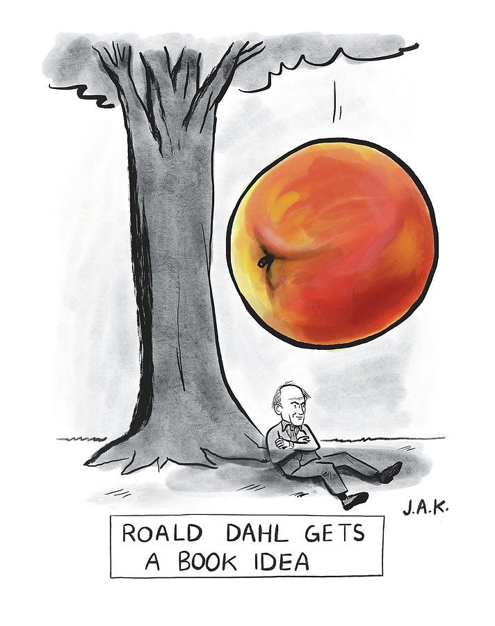 Roald Dahl Gets A Book Idea Drawing by Jason Adam Katzenstein