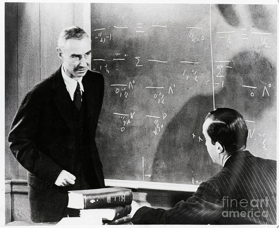 Robert Oppenheimer At Blackboard Photograph by Bettmann