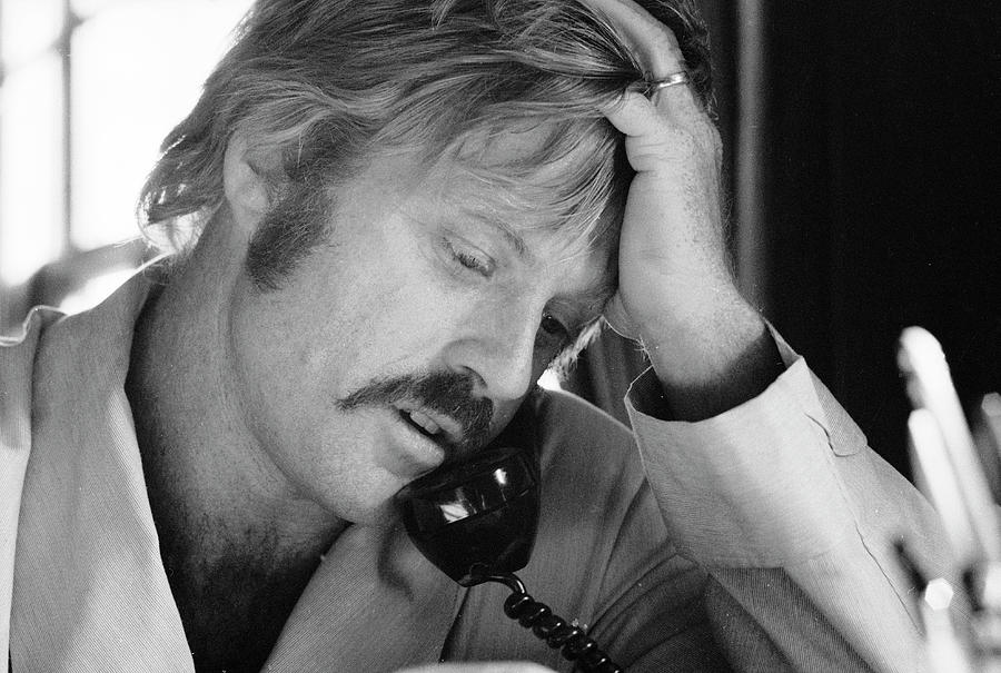 Robert Redford On The Phone Photograph by John Dominis