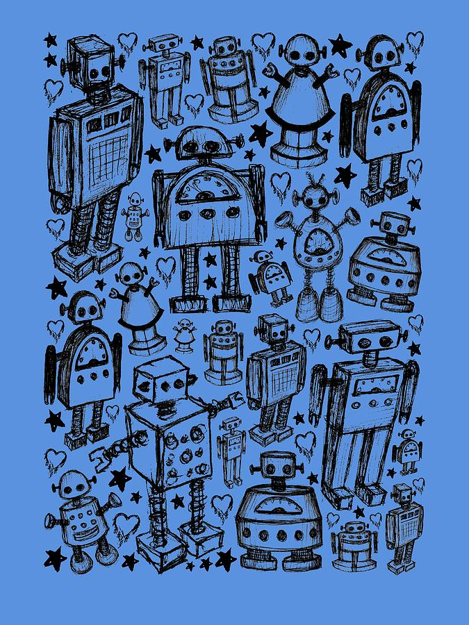 Robot Crowd Graphic by Roseanne Jones