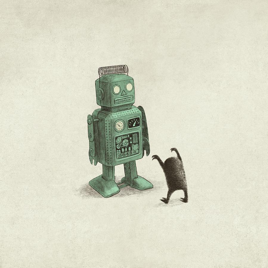 Vintage Drawing - Robot Vs Alien by Eric Fan