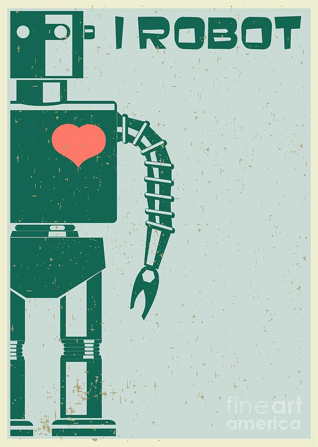 Gift Digital Art - Robot With Heart On Chest, Retro Poster by Pgmart