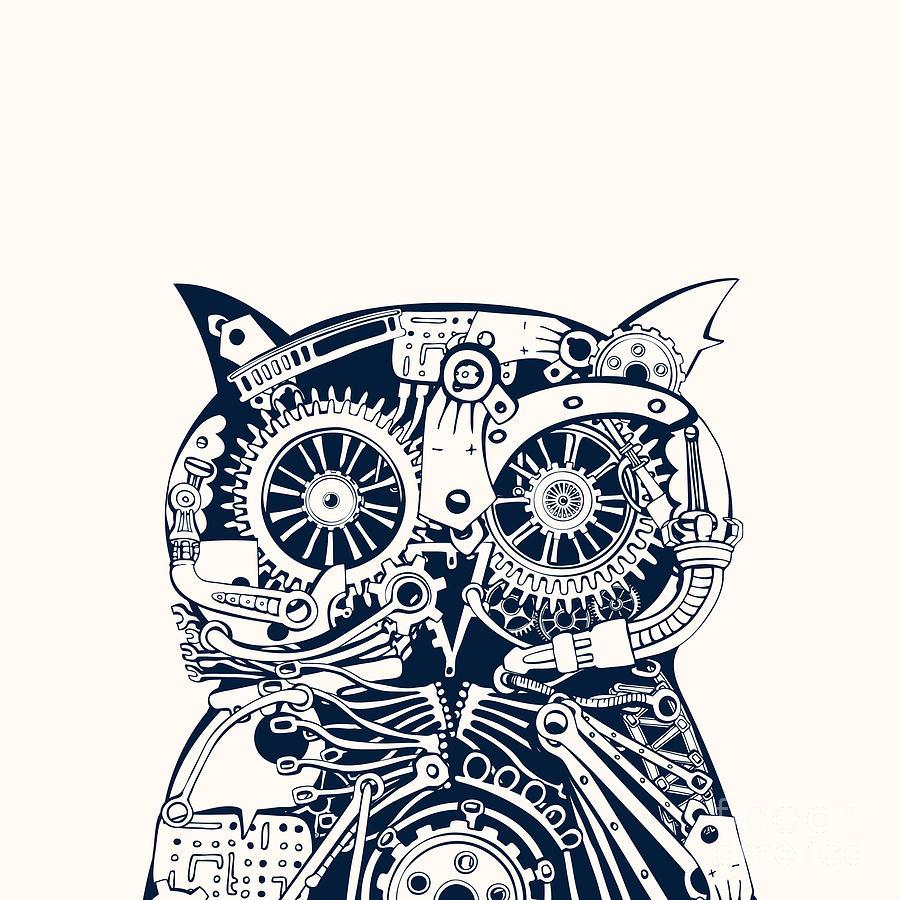 Frontal Digital Art - Robotic Owl Head by Ryger