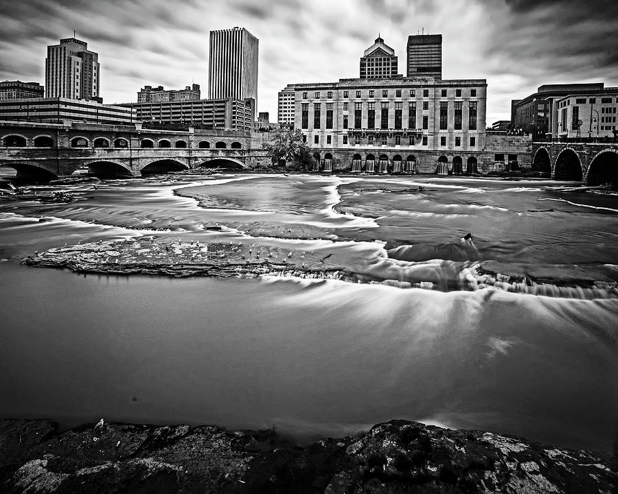 Rochester NY Court Street Bridge Flowing Water Black and White by Toby McGuire