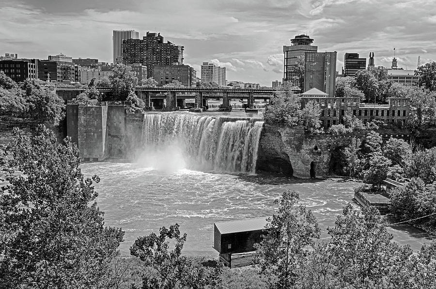 Rochester NY High Falls Waterfall Black and White by Toby McGuire