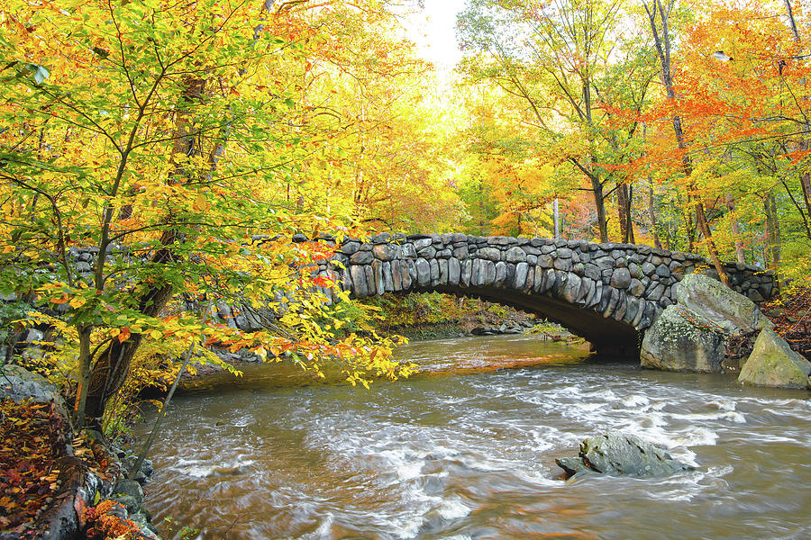 Rock Creek Boulder Bridge with Fall Colors by Jeff at JSJ Photography
