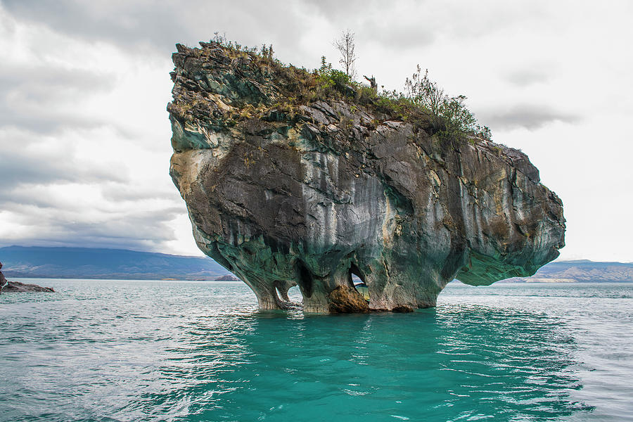 Chile Photograph - Rock Formation At Catedral De Marmol In Chile by Cavan Images
