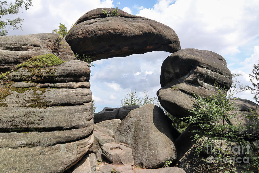 Rock Photograph - Rock Gate In The Nature Reserve Broumov Walls by Michal Boubin