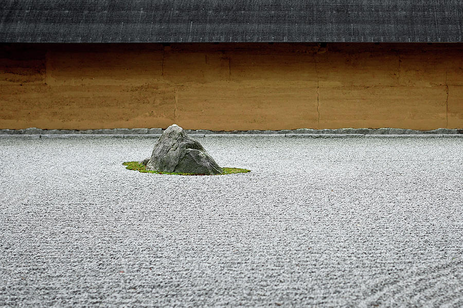 Rock In Japanese Garden With Raked Photograph by Andreaskermann