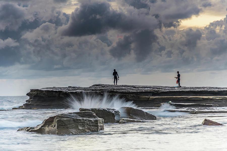 Australia Photograph - Rock Ledge, Spear Fishermen And Cloudy Seascape by Merrillie Redden