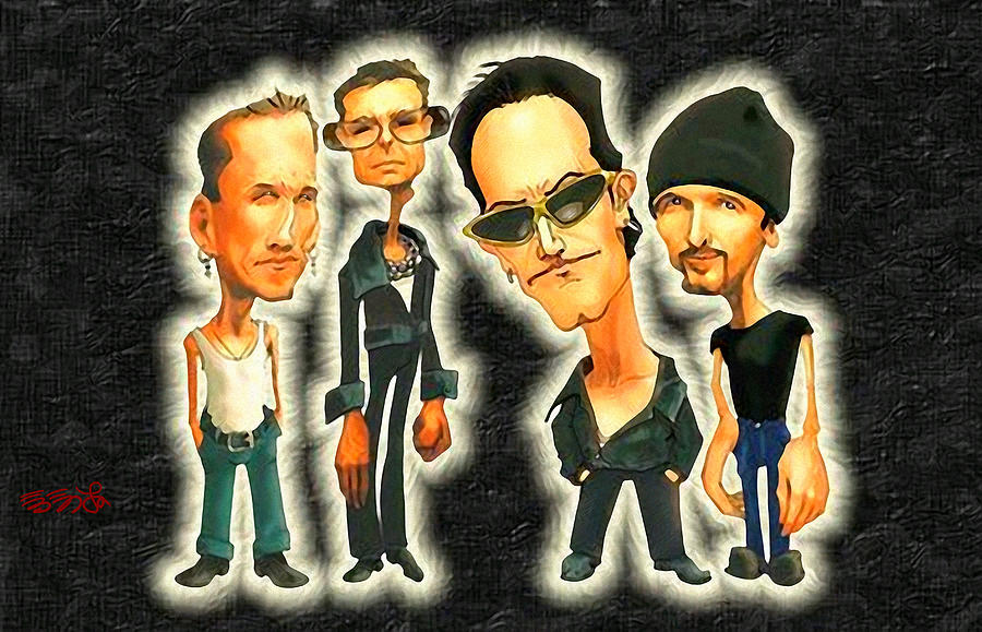 Bono Painting - Rock N Roll Warriors - U2 by Ebenlo - Painter Of Song