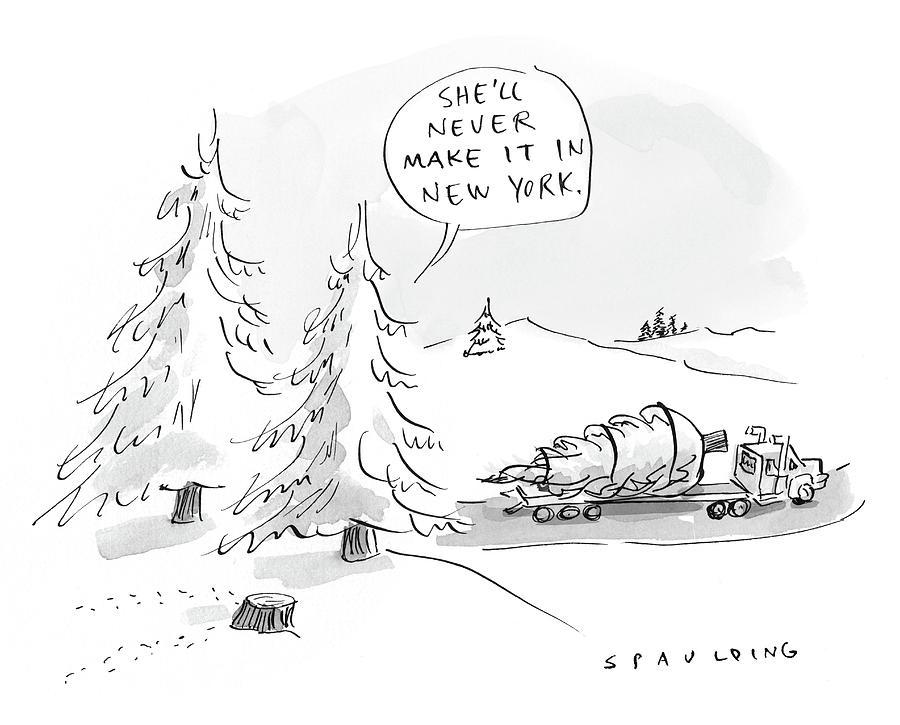 Rockefeller Christmas Tree Drawing by Trevor Spaulding
