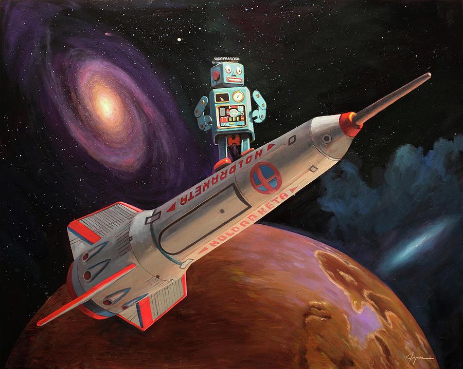 Robot Painting - Rocket Surfer by Eric Joyner