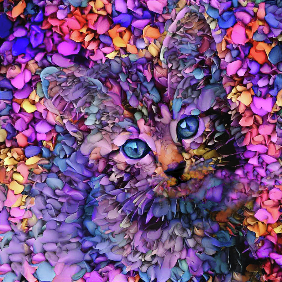 Tabby Kitten Digital Art - Rocko The Purple Tabby Kitten by Peggy Collins