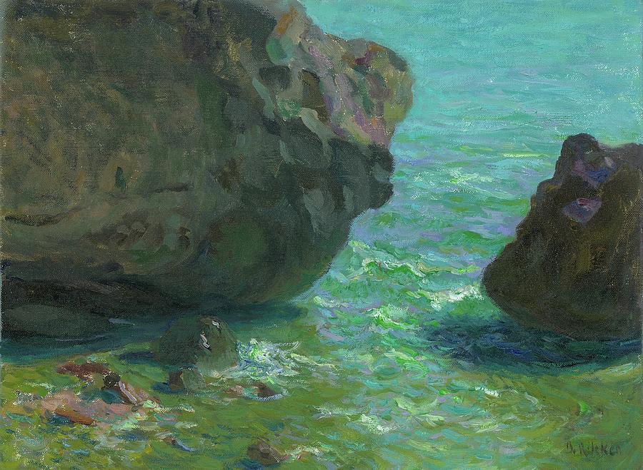 Seascape Painting - Rocks at Cap Negret sp by Ben Rikken