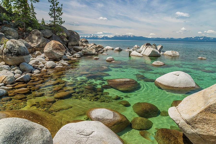 Rocks At Edge Of Lake, Lake Tahoe, Usa Photograph by Stuart Dee