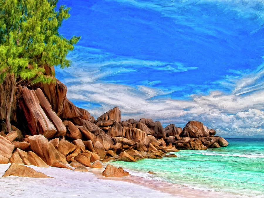 Seychelles Painting - Rocks at Grand Anse Seychelles by Dominic Piperata