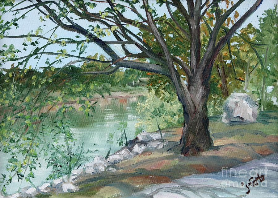 River Painting - Rocks on the River Bank by Janet Felts