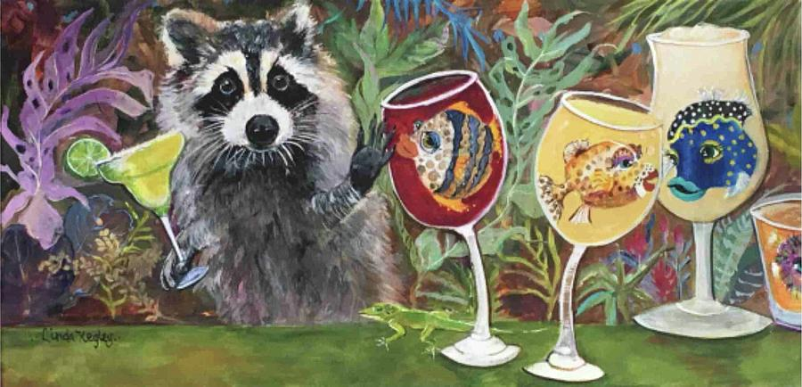 Raccoon Painting - Rocky And His Bestfins by Linda Kegley