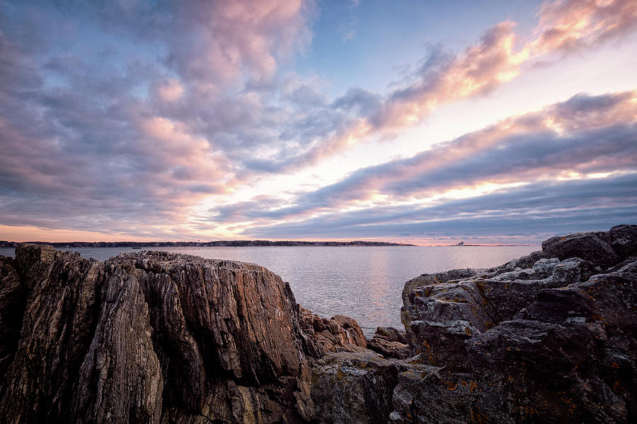 Rocky Coast At Daybreak . by Jeff Sinon