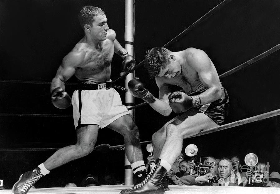 Rocky Marciano has Roland Lastarza On The Ropes 1953 by Doc Braham