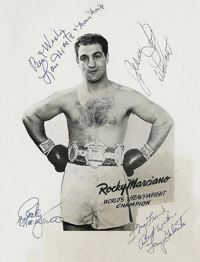 Rocky Marciano, Tony Galento and Jersey Joe Walcott - Autographs by Doc Braham