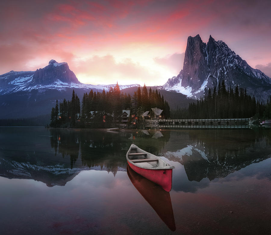 Canada Photograph - Rocky Mountains The Boat At Sunrise 7r24696 by Joanaduenas