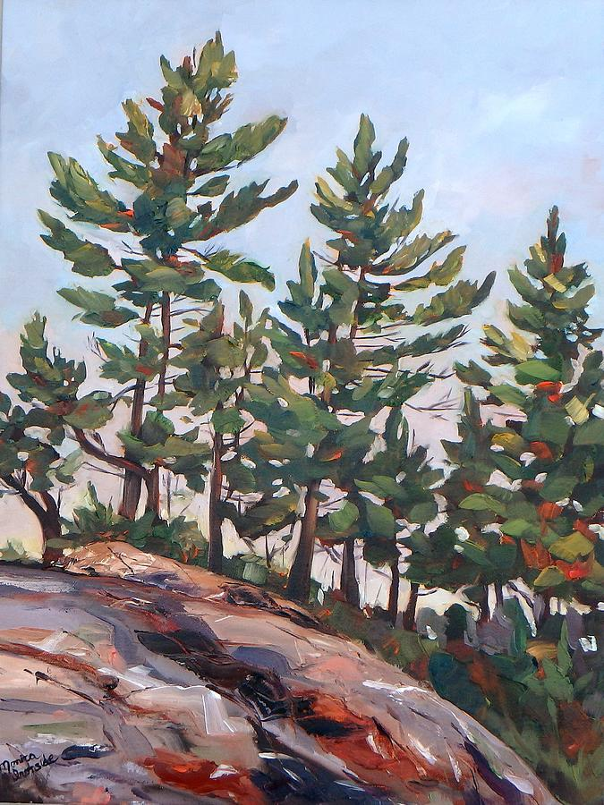 Landscape Painting - Rocky Pines by Monica Ironside