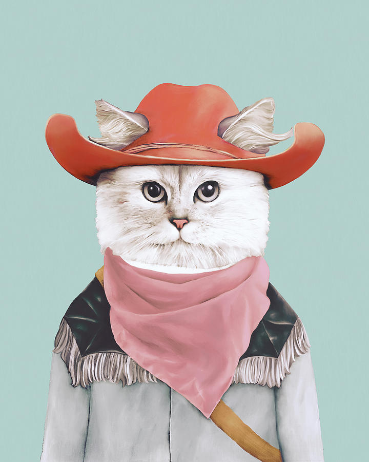 Cowboy Cat Painting - Rodeo Cat by Animal Crew