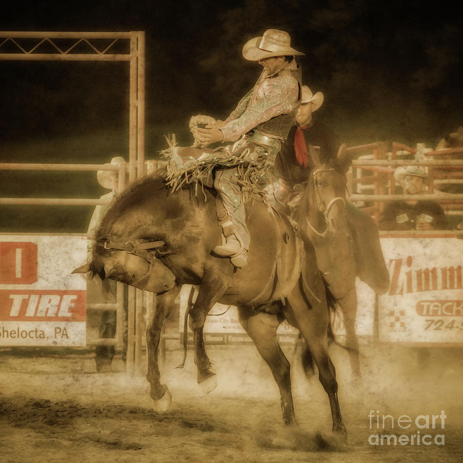 Rodeo Event Digital Art - Rodeo Rider Bronco Busting Sepia One by Randy Steele