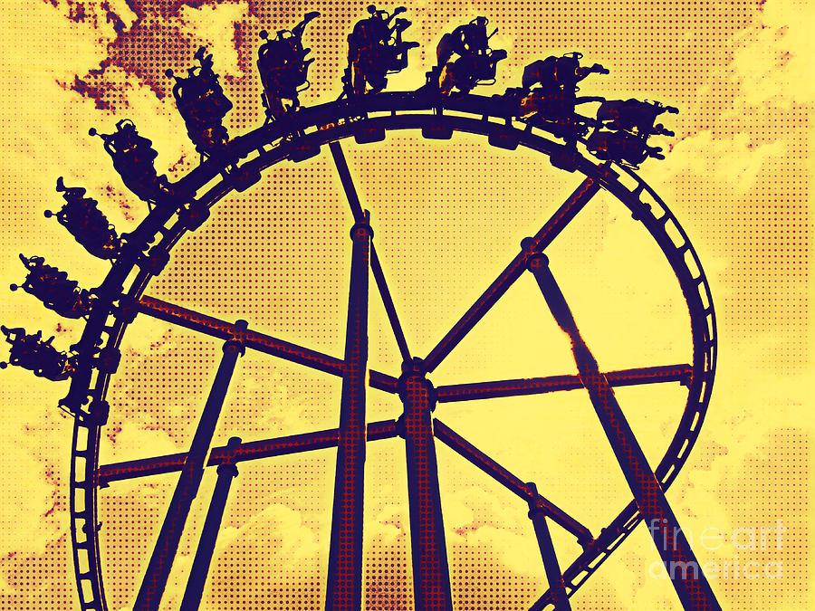 Roller Coaster Digital Art - Roller Coaster Fun by Jurgen Huibers
