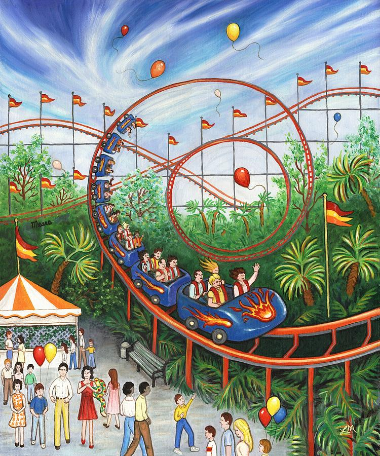 Carnival Painting - Roller Coaster by Linda Mears