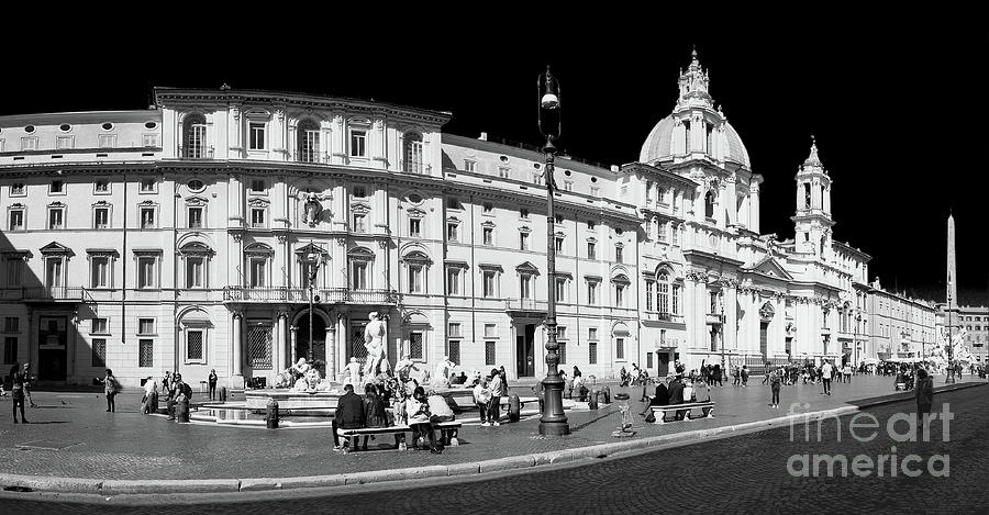 Roma Photograph - Roma BW - Panorama Of Piazza Navona by Stefano Senise