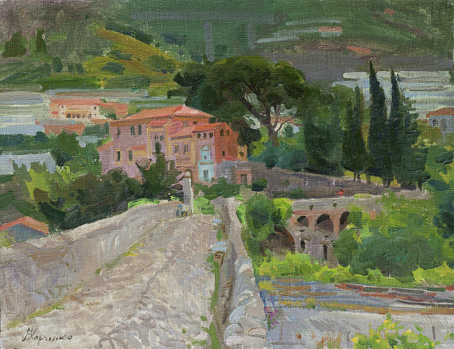 Roman Bridge In Taggia Painting